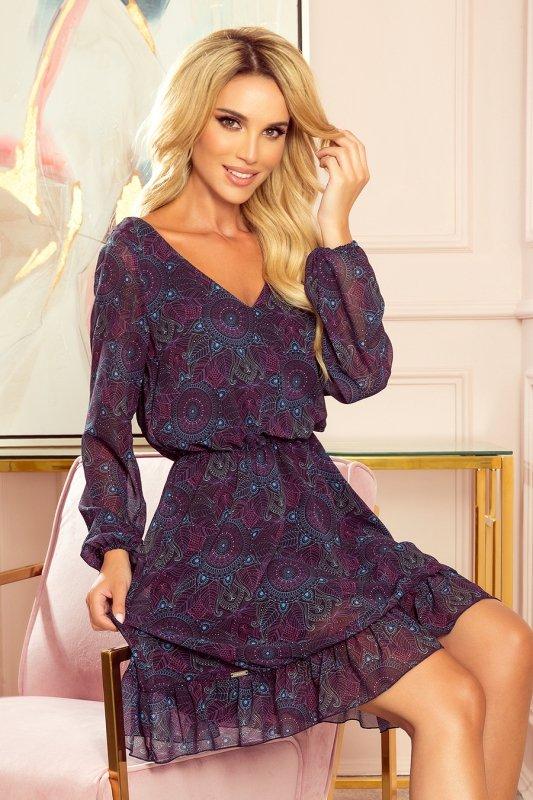 BAKARI zwiewna szyfonowa sukienka z dekoltem - różowo-niebieskie mandale- 1