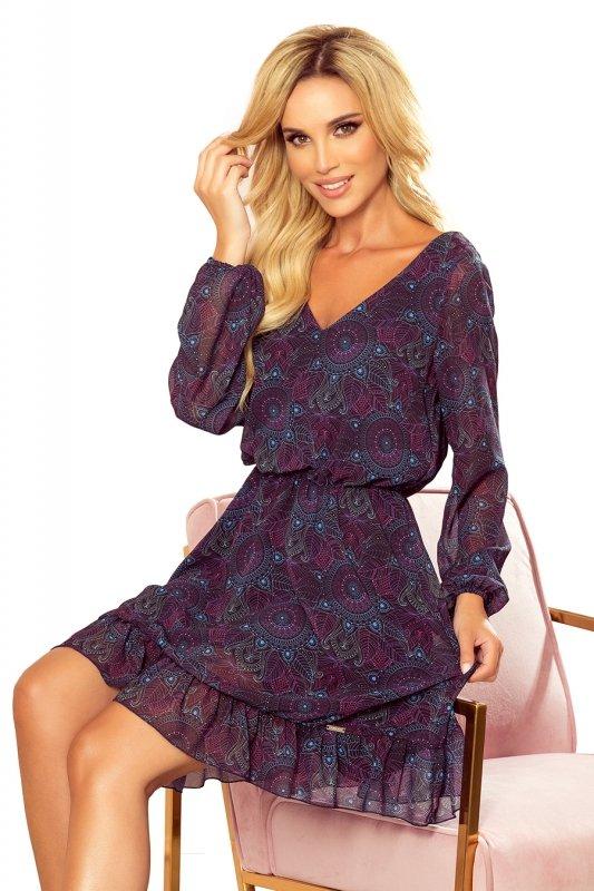 BAKARI zwiewna szyfonowa sukienka z dekoltem - różowo-niebieskie mandale- 10