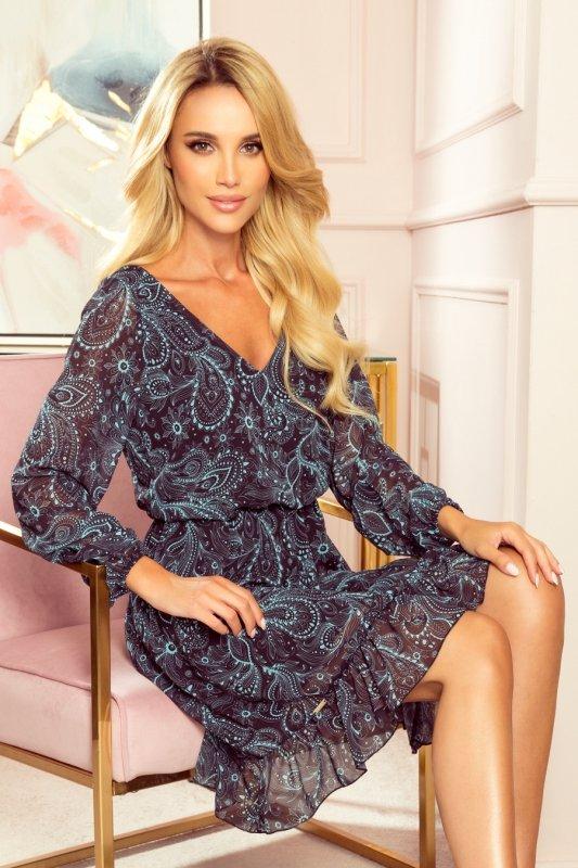 Bakari zwiewna szyfonowa sukienka z dekoltem - Turkusowy wzór-1