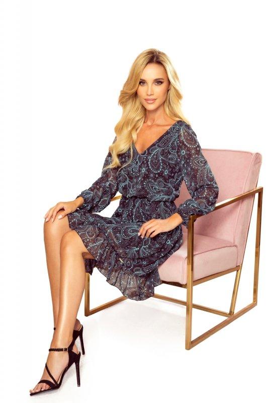 Bakari zwiewna szyfonowa sukienka z dekoltem - Turkusowy wzór-6
