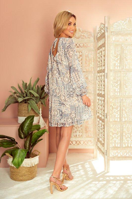 HANNAH szyfonowa sukienka z dekoltem na plecach - beżowo-niebieska-3