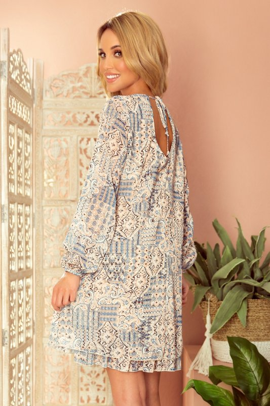 HANNAH szyfonowa sukienka z dekoltem na plecach - beżowo-niebieska-5