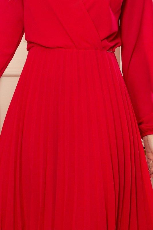 ISABELLE Plisowana sukienka z dekoltem i długim rękawkiem - CZERWONA