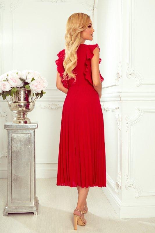 EMILY Plisowana sukienka z falbankami i dekoltem - CZERWONA -2