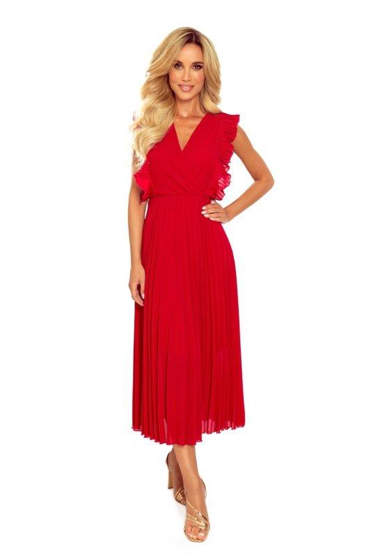 EMILY Plisowana sukienka z falbankami i dekoltem - CZERWONA -6