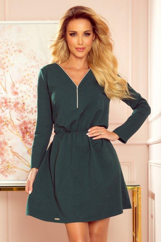 NANCY Sukienka z zamkiem - zieleń butelkowa -1