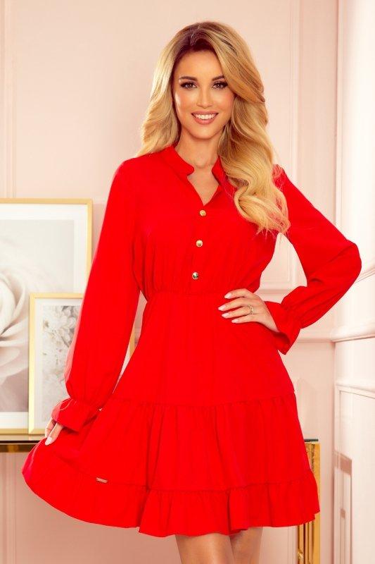 Sukienka z falbankami i złotymi guzikami - Czerwona - 1