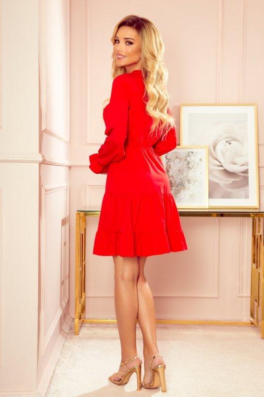 Sukienka z falbankami i złotymi guzikami - Czerwona - 2