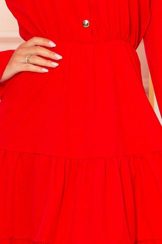 Sukienka z falbankami i złotymi guzikami - Czerwona - 5