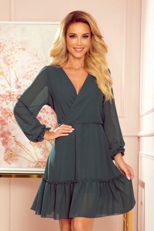 Lauren - Szyfonowa sukienka z dekoltem i falbankami - ZIELEŃ BUTELKOWA - 1