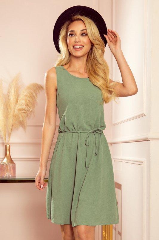 VICTORIA Trapezowa sukienka - kolor OLIWKOWY