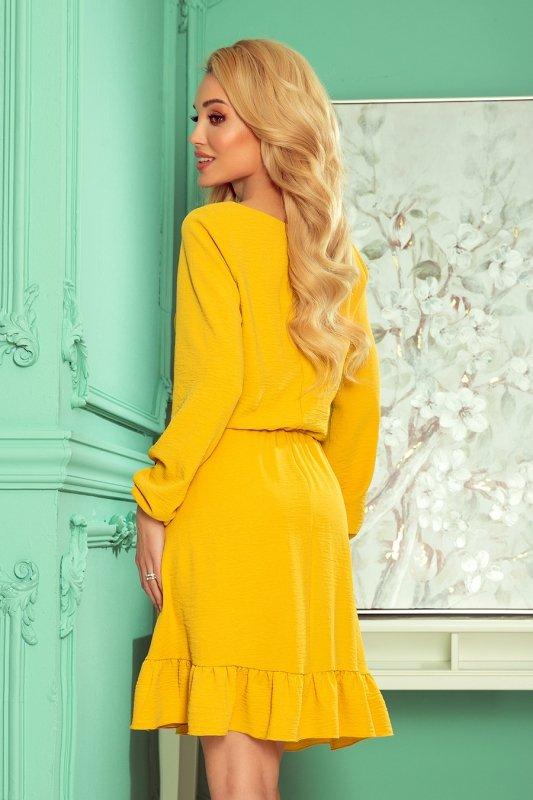 BAKARI zwiewna sukienka z dekoltem - MIODOWA - 4