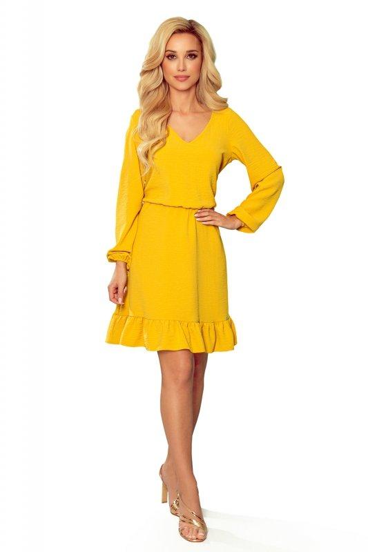 BAKARI zwiewna sukienka z dekoltem - MIODOWA - 6