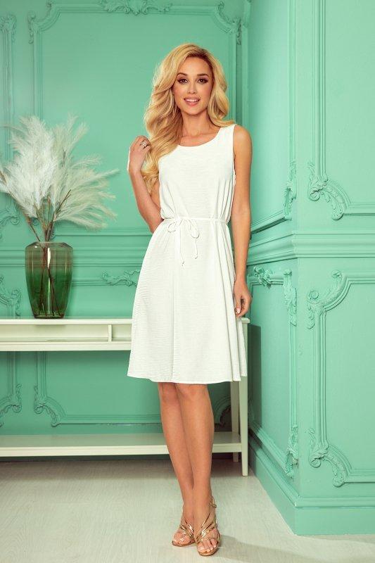 VICTORIA Trapezowa sukienka - kolor ECRU