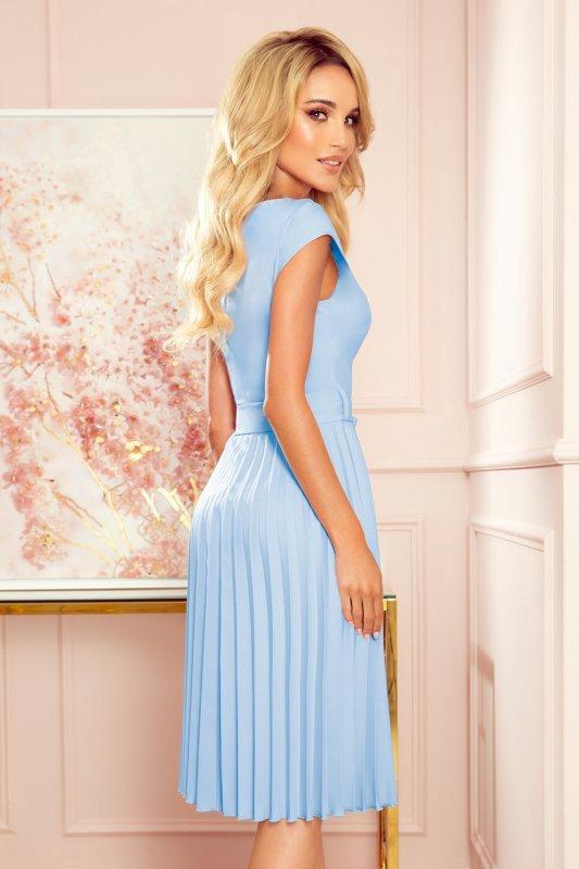 LILA Plisowana sukienka z krótkim rękawkiem - JASNY BŁĘKIT