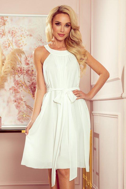 ALIZEE - szyfonowa sukienka z wiązaniem - ECRU - 1