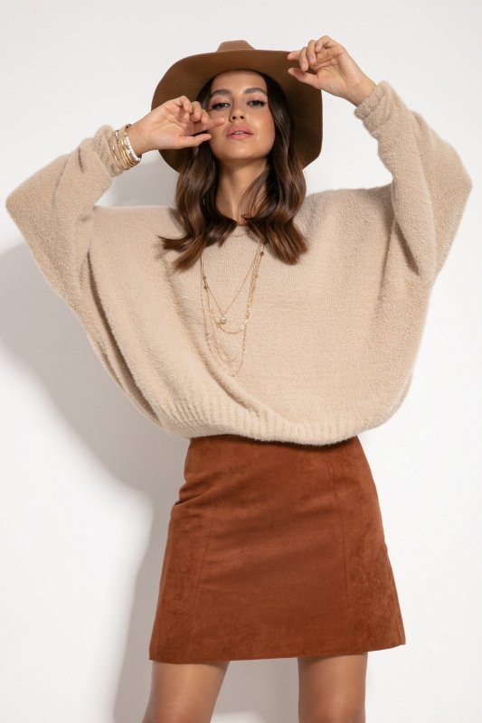 Sweter F1070- Beżówy -1
