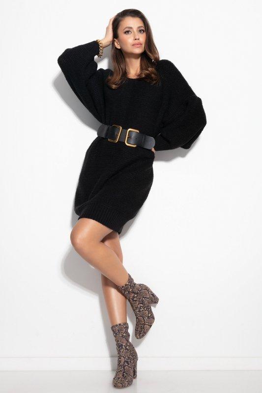 Dzianinowa sukienka-F1105-czarna-1