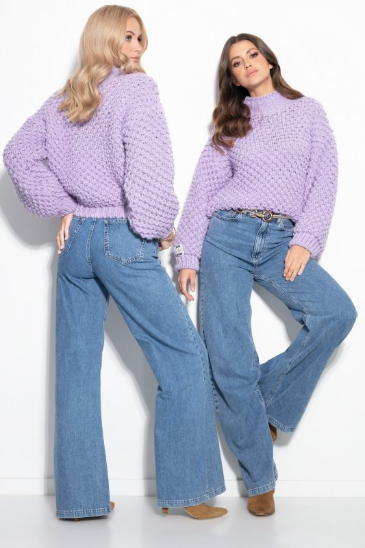 Sweter Chunky Knit F1135 - Fiolet - StreetStyle.net.pl - 5