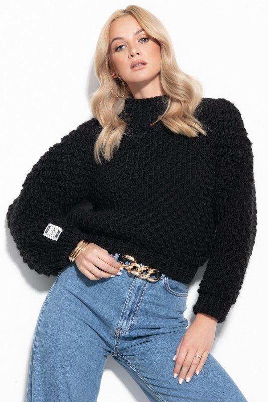 Sweter Chunky Knit F1135 - Czarny - StreetStyle.net.pl - 4