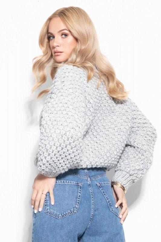 Sweter Chunky Knit F1135 - Szary - StreetStyle.net.pl - 4