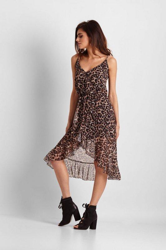 Zwiewna sukienka na ramiączkach Ariana - Panterka