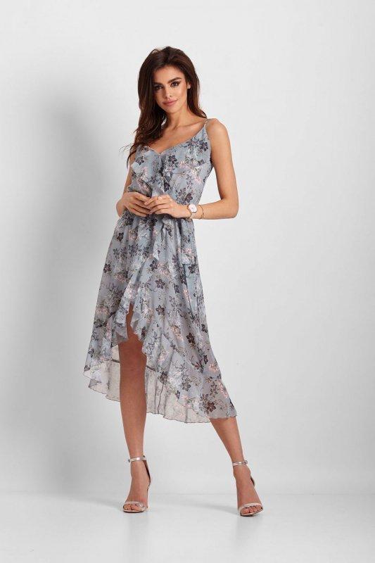 Szyfonowa asymetryczna sukienka Chantal - Niebieska