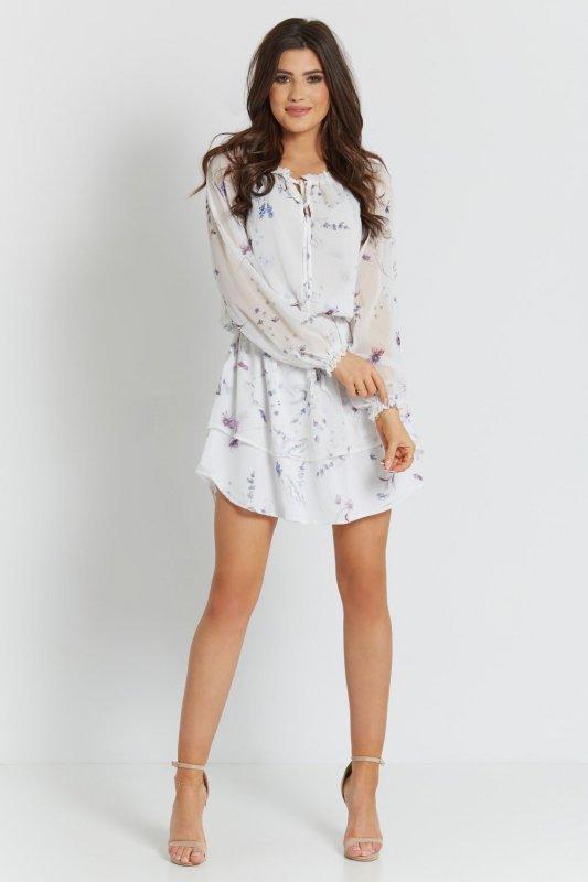 Szyfonowa  Sukienka Bali - Biała