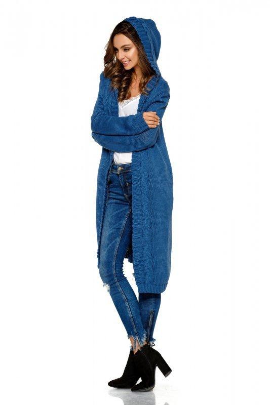 Modny kardigan z kapturem - StreetStyle LS213 - jeans - 2