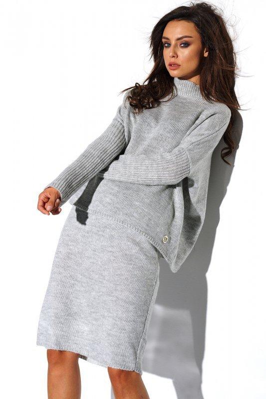 Komplet sweter półgolf i spódnica - StreetStyle LS260 - jasnoszary-1