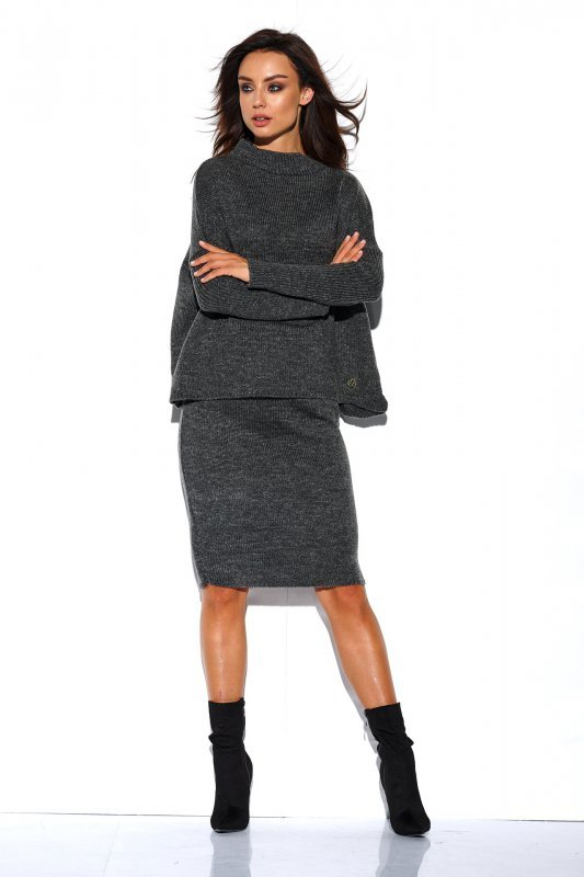 Komplet sweter półgolf i spódnica - StreetStyle LS260 - grafit-3