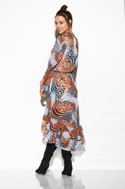 Sukienka z jedwabiem i krótszym przodem -StreetStyle LG504 - druk 3