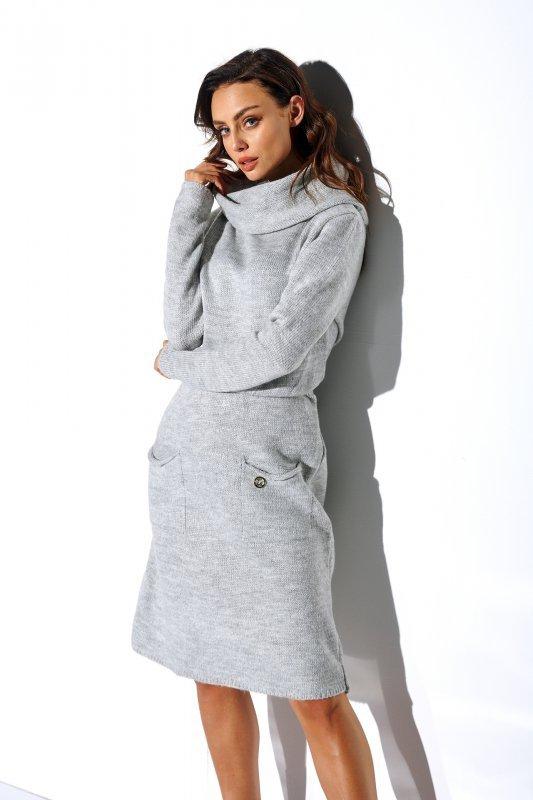 Sweterkowa sukienka z golfem i kieszeniami - StreetStyle LS257- jasnyszary-1