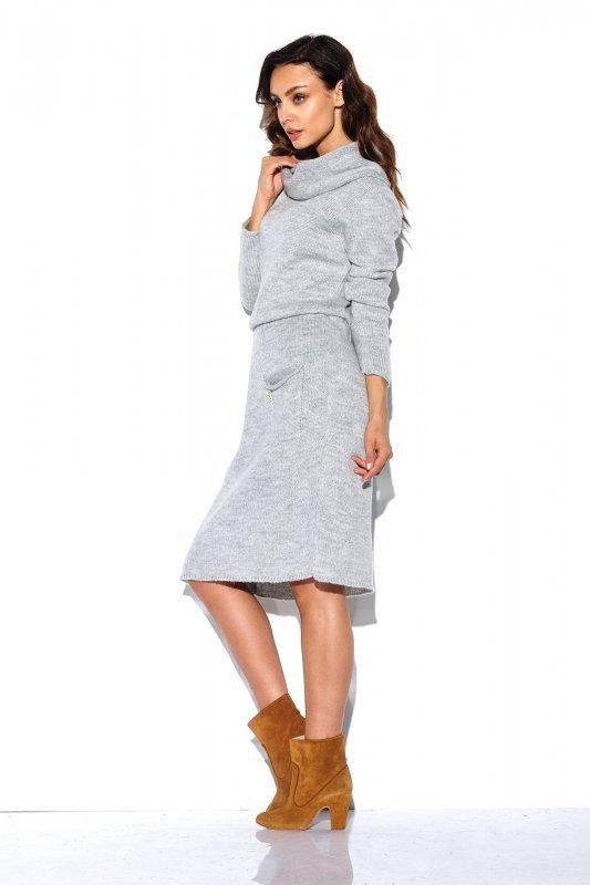Sweterkowa sukienka z golfem i kieszeniami - StreetStyle LS257- jasnyszary-3