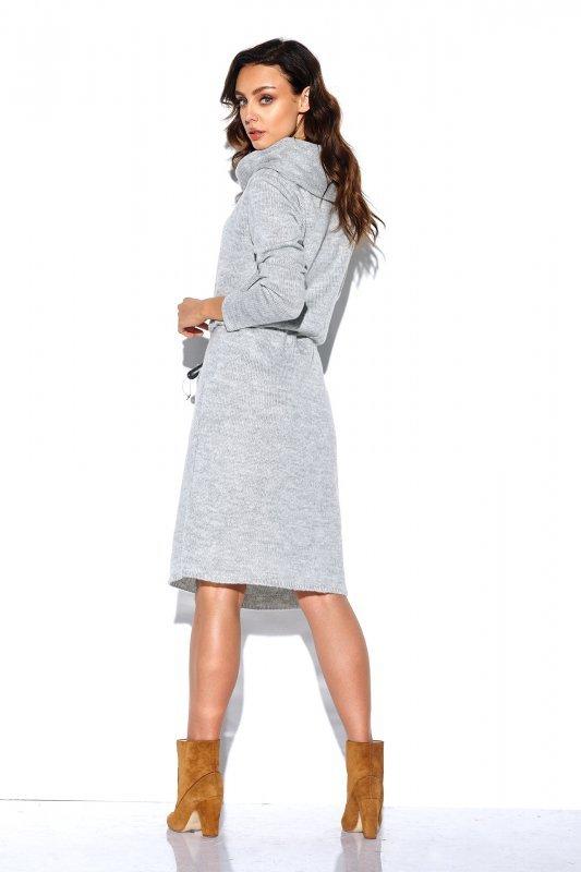 Sweterkowa sukienka z golfem i kieszeniami - StreetStyle LS257- jasnyszary-4