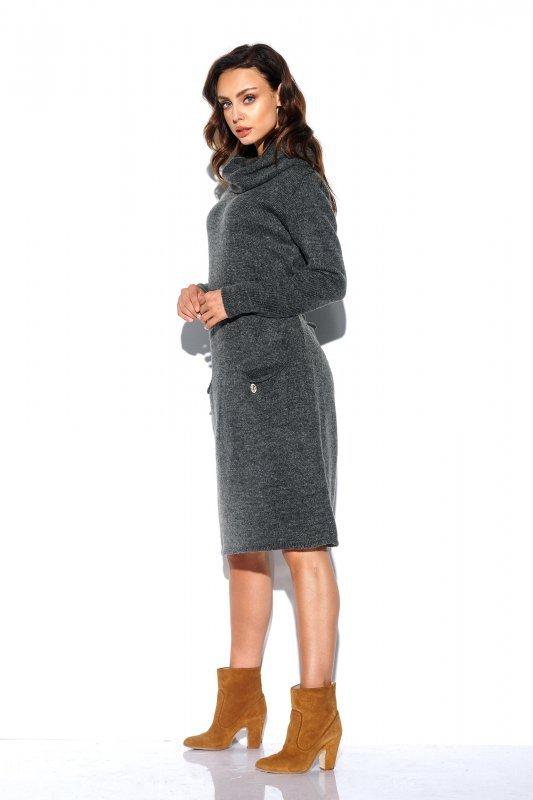 Sweterkowa sukienka z golfem i kieszeniami - StreetStyle LS257- grafit-3