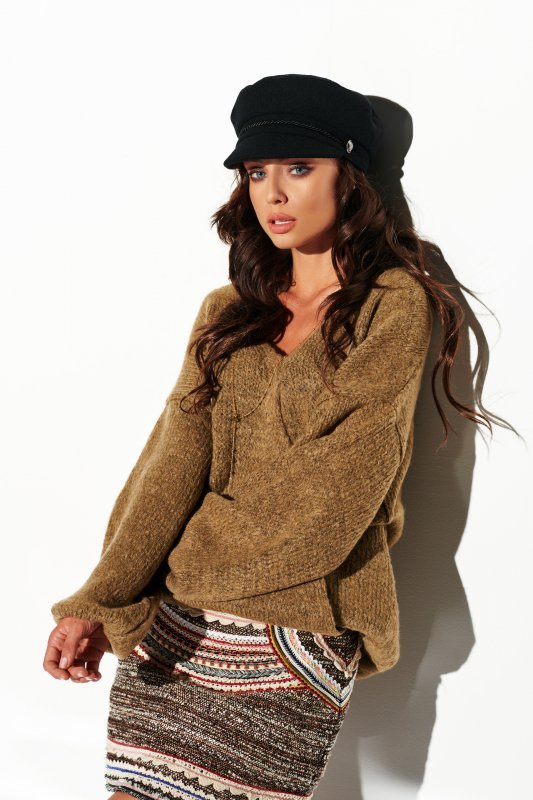 Sweter z dużym dekoltem - StreetStyle LSG111- capucino- 3