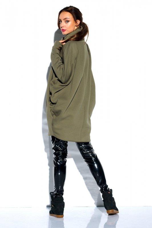 Bluza o oversizowym kroju z zamkiem - StreetStyle LN100 - khaki - 1