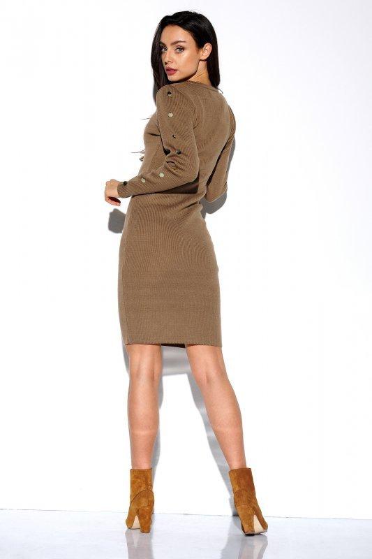 Sukienka swetrowa z guzikami na rękawach - StreetStyle LS270- capucino - 3