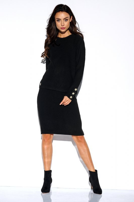 Elegancki komplet sweter i spódnica - StreetStyle LSG118 -czarny - 1