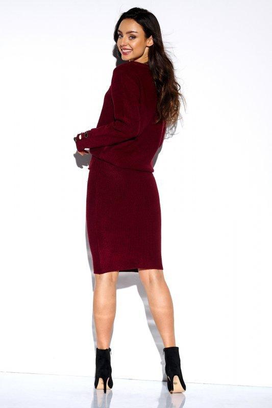 Elegancki komplet sweter i spódnica - StreetStyle LSG118 - bordo - 2