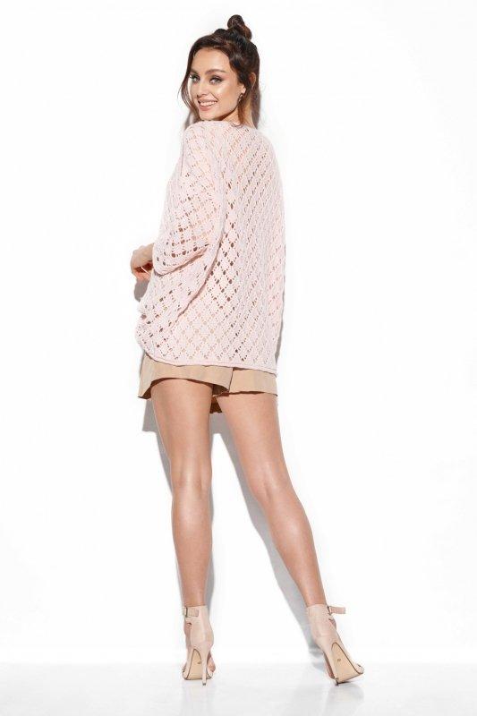 Ażurowy sweter z odkrytymi ramionami -StreetStyle -LS286 - pudrowy róż