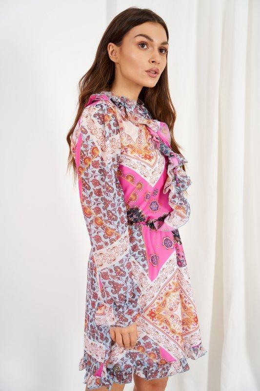 Szyfonowa sukienka z jedwabiem i żabotem wzór - StreetStyle LG518 - druk 18