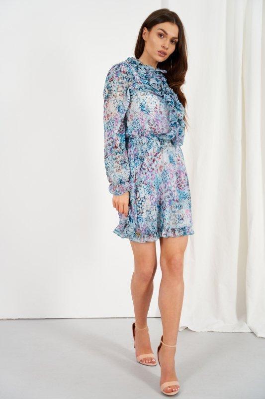 Szyfonowa sukienka z jedwabiem i żabotem wzór - StreetStyle LG518 - druk 14