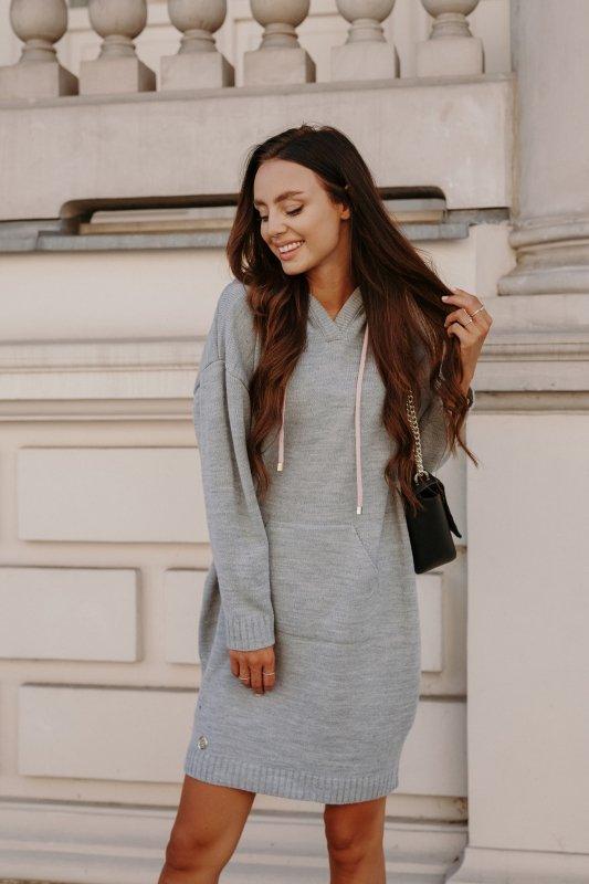 Swetrowa sukienka sportowa z kieszenią -  LSG132 - jasnoszary-3