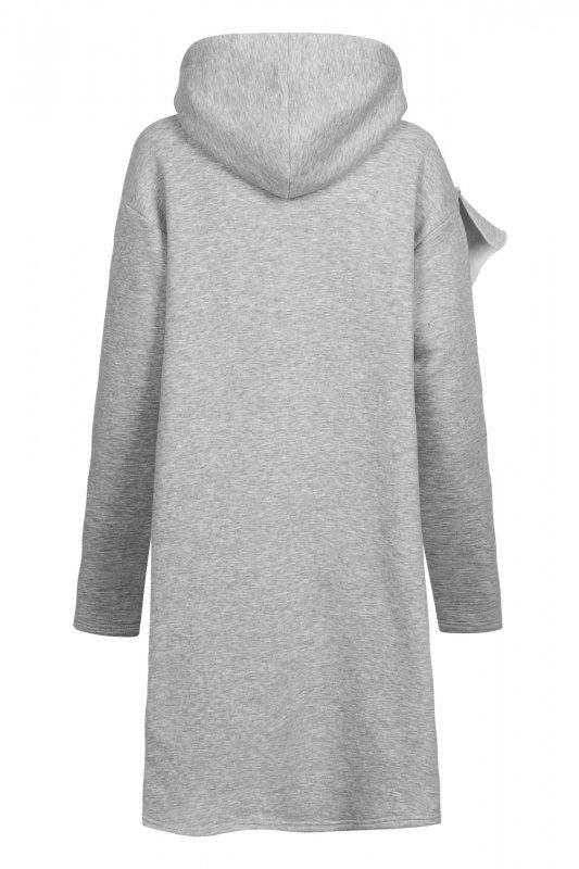 Bawełniana sukienka/bluza z falbaną LN119 - Jasnoszary - 1