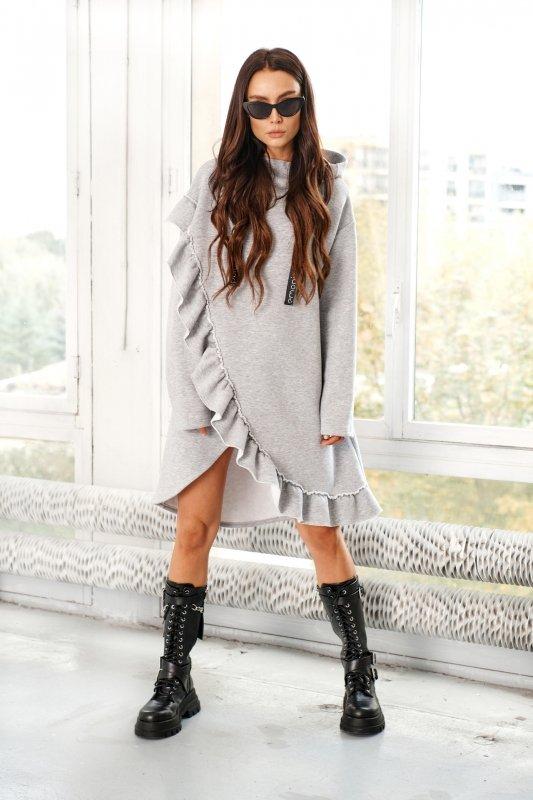 Bawełniana sukienka/bluza z falbaną LN119 - Jasnoszary - 6