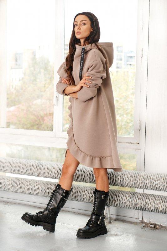 Bawełniana sukienka/bluza z falbaną LN119 - capucino - 8