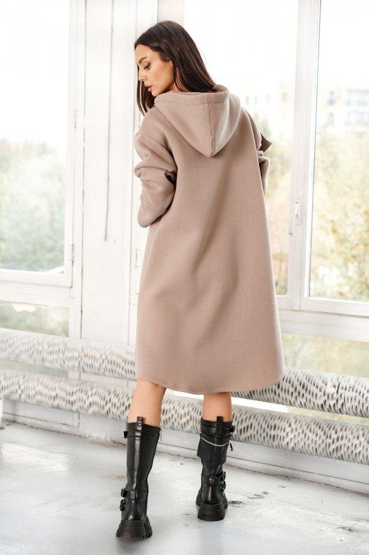 Bawełniana sukienka/bluza z falbaną LN119 - capucino - 9