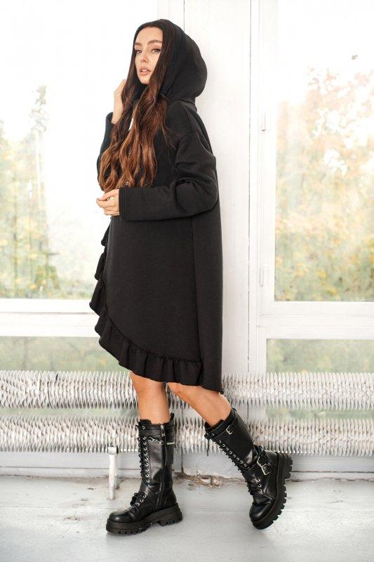 Bawełniana sukienka/bluza z falbaną LN119 - Czarna - 8